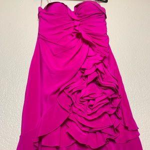 Aidan Mattox silk cascading ruffles dress